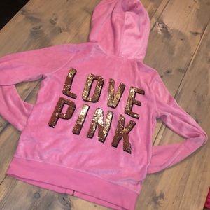 Pink Victoria's Secret velour zip up hoodie